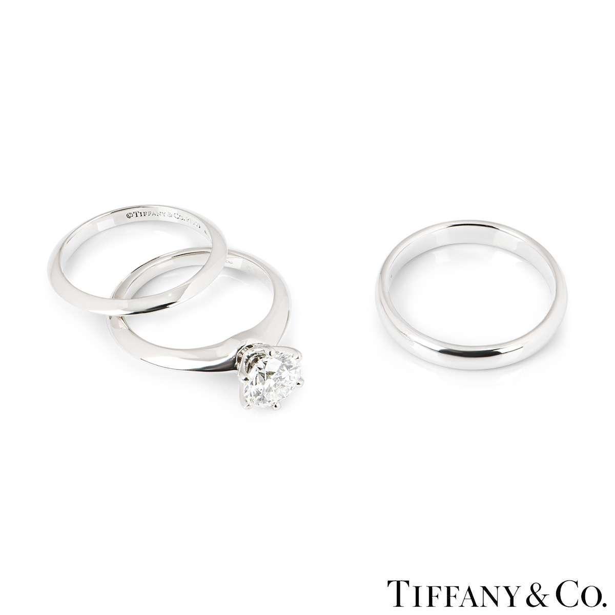 Tiffany & Co. Platinum Diamond Bridal Set 1.21ct H/VS1